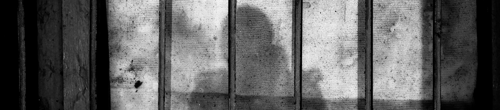 A shadow of a person on ion bars