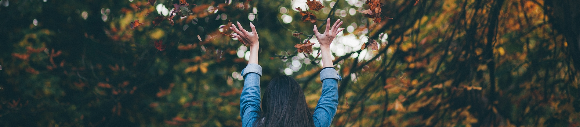 A women with her hands in the air surrounded by autumnal leaves and trees