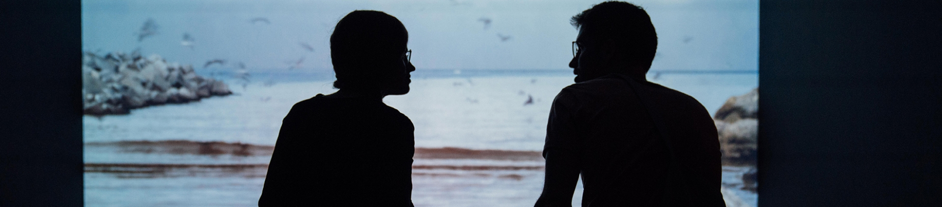 Two men sat talking to each other with the sea in front of them