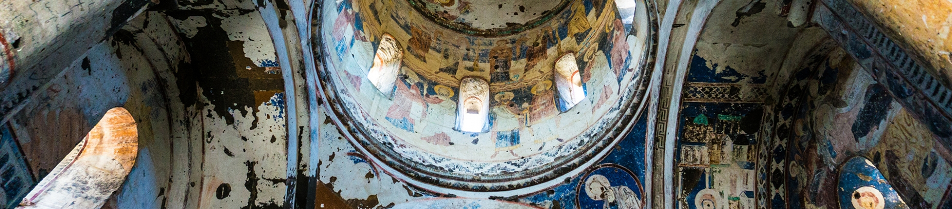 A painted cathedral ceiling