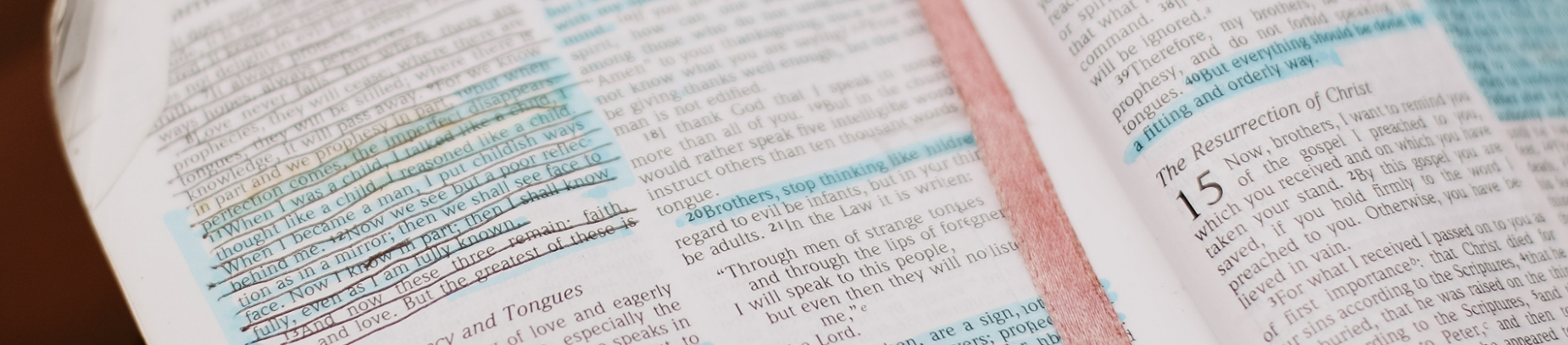 Open bible with highlighted verses