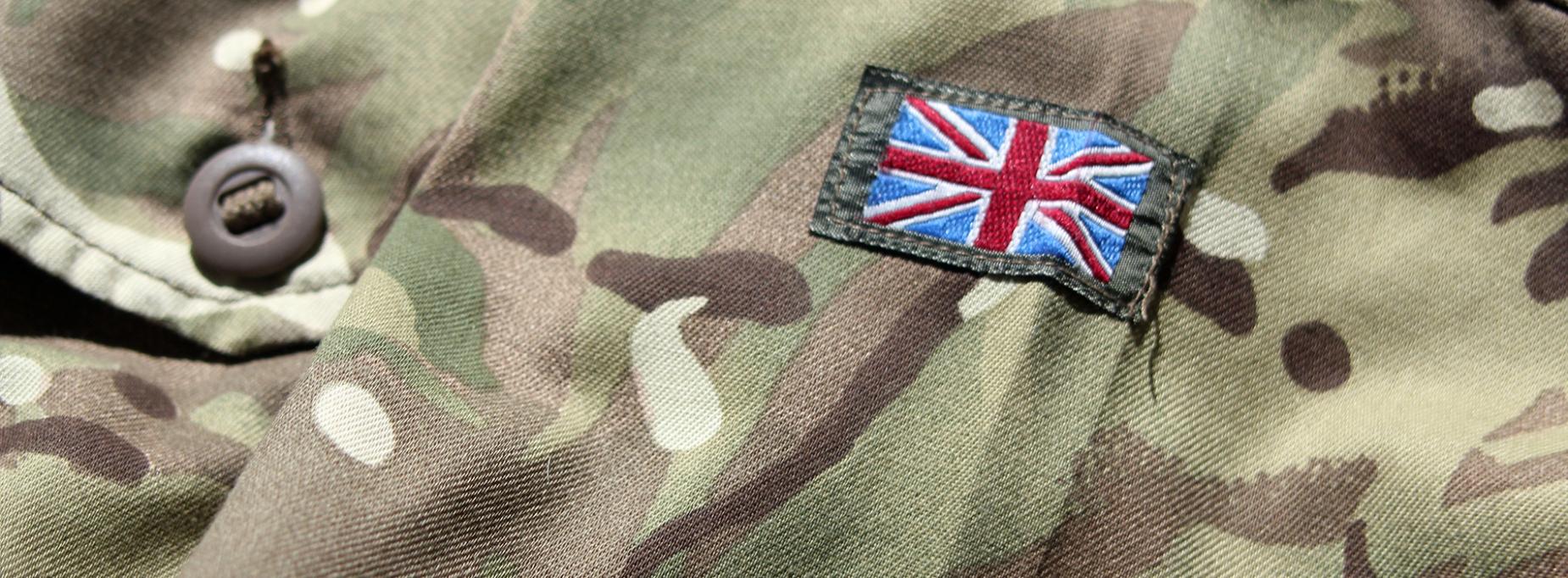 British flag on army uniform
