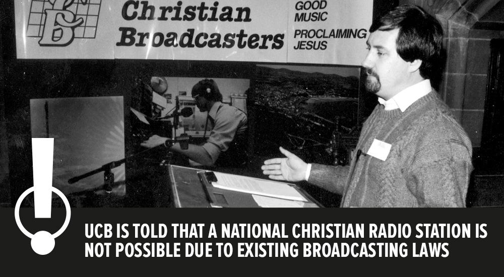 UCB IS TOLD THAT A NATIONAL CHRISTIAN RADIO STATION IS NOT POSSIBLE DUE TO EXISTING BROADCASTING LAWS
